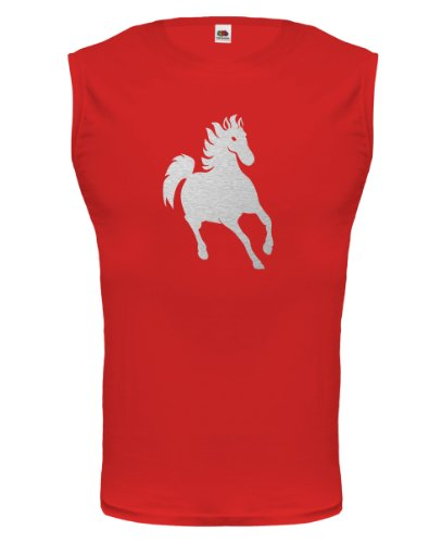 Tank Top Pferd-XXL-Red-Silver (Pony-shirt Silver)