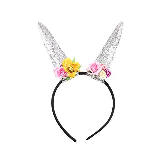 hen Hase Ohren Horn Stirnband Pailletten mit Spitze Blumen für Party Cosplay Kostüm Zubehör (Silber) ()