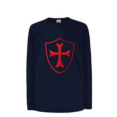 lepni.me Kinder-T-Shirt mit Langen Ärmeln Die Tempelritter Schild, Rotes Kreuz, Christlicher Ritterorden (5-6 Years Blau Mehrfarben) (Mutter Natur Kostüm Muster)