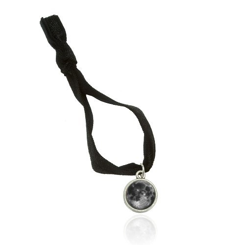 Full Moon Bracelet Double Fold Over Stretchy Elastic No Crease Hair Tie With Charm