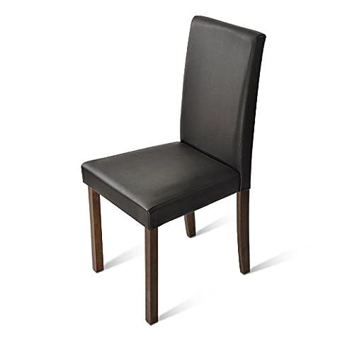 SAM® Polster-Stuhl, Esszimmer-Stuhl mit Lederimitat in braun, massive Holzbeine in kolonialfarben, Design-Stuhl für Küche und Esszimmer [53261665]