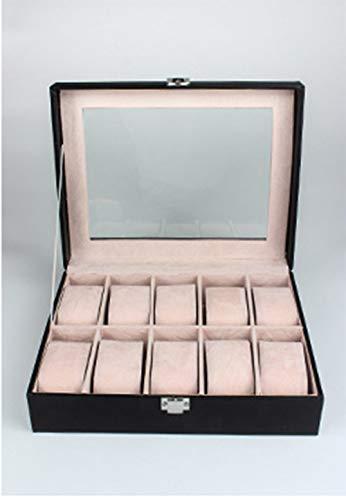 WOOLIY boîte de Montre pour Les Hommes/Luxe Fibre de Carbone Design vitrine/Grand Support/Boucle en métal