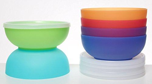 idea-station NEO Kunststoff-Schalen 17 cm mit Deckel, 750 ml, 6 Stück, farbig, bunt, rund, stapelbar, perfekt für als Müsli-Schale, Snack-Schale, Dessert-Schale, Salat-Schale einsetzbar auch für Vorspeisen, Nachspeisen, spülmaschinenfest - 3
