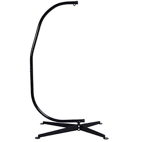 Costway C frame hammock chair stand Construction sturdy Tubular Indoor & Outdoor Garden Patio Black