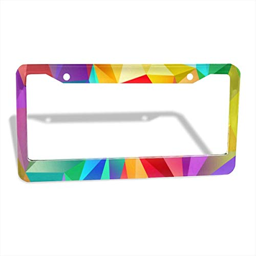 FunnyCustom License Plate Frame Geometric Triangle Color Personalized Aluminum License Plate Set Metal Tag Holder 12 x 6 Inch 2 Packs