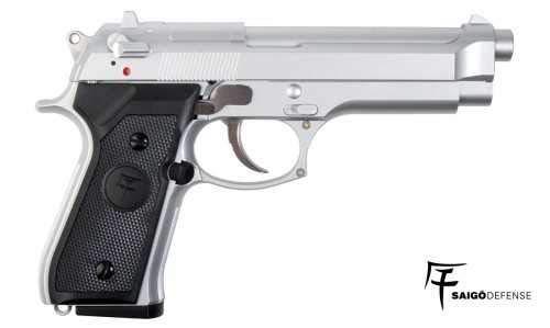 Saigo Airsoft Pistole 92 Silber- Semi Automatische Gas (0,5 Joule) (Semi-automatische Pistole)