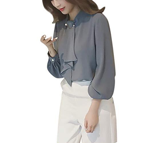 Toponly Bluse für Frauen Casual T-Shirt Chiffon Bottoming Shirt Tunika Shirts Schnürung Tops Tee -