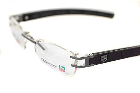 TAG HEUER L-TYPE LW TH0116 018 54mm Mens RIMLESS Optical Glasses / Frames PURE / BLACK / ALLIGATOR DARK PURPLE