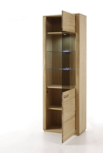 Dreams4Home Wohnkombination 'Yascha II' 4-teilig, Eiche Bianco massiv, optional mit Beleuchtung, Schrank, TV-Schrank, TV Element, Wohnwand, Wohnelement, Wohnzimmer, Regalwand, Highboard, Vitrine, Beleuchtung:mit LED Beleuchtung - 4