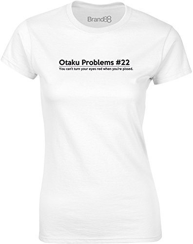 Brand88 - Otaku Problems #22, Gedruckt Frauen T-Shirt Weiß/Schwarz