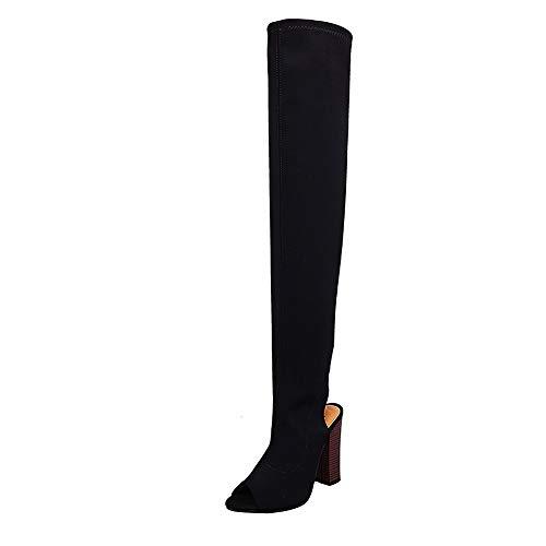 Overknee Stiefel Damen,Elecenty Peep-Toe Damenschuhe Frauen Strecken Stiefeletten Hohe Boots High Heels Blockabsatz Elegante Schuhe
