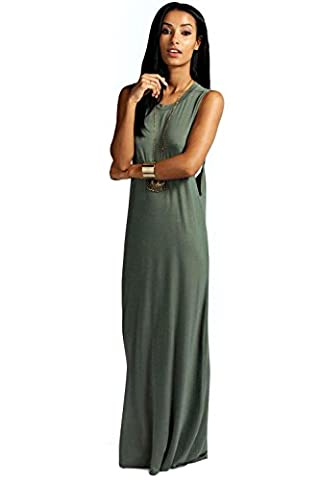Khaki Womens Lola Twist Back Detail Maxi Dress - 14