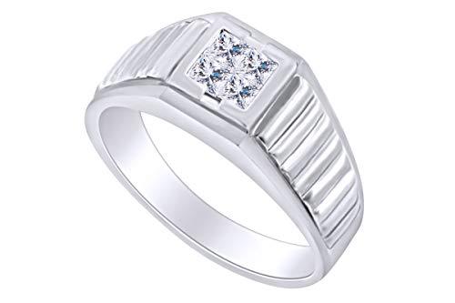 AFFY - Gold 14 Karat (585) 14kt Weiß-Gold Prinzessschliff Leicht Getöntes Weiß/Crystal (J) Diamant (Herren Ringe Gold 14kt)