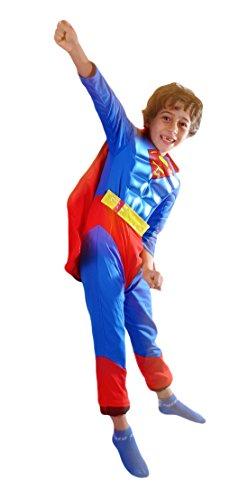 erdbeerloft -Jungen Karneval Komplettkostüm Superman Metallic Muskel Anzug, blau schwarz, 5-6 (Kinder Für Anzug Superman)