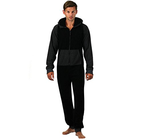bobo4818 Herren Einteiler Strampelanzug College Sweat Jumpsuit Jogging Training (schwarz, S)