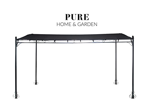 Pure Home & Garden Luxus XXL Anbaupavillon Latina Anthrazit, UV-Schutz 40 Plus, 300 x 400 cm