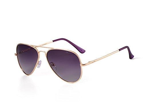 Miuno® Sonnenbrille Polarisiert Polarized Herren Damen Geschenkbox & Brillentuch Aviator Federscharnier 3025 Goldgestell (Lila)