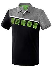 Erima GmbH 1111904 Polo de Tenis, Unisex Adulto, Negro/Gris Jaspeado/Blanco