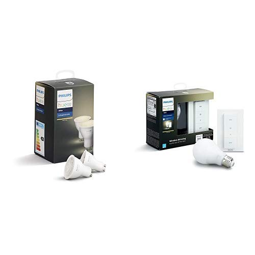 Philips Hue White GU10 LED Spot Doppelpack, dimmbar, warmweißes Licht & Philips Hue White Wireless Dimming Kit, E27 LED Lampe inkl. Dimmschalter, dimmbar, warmweißes Licht