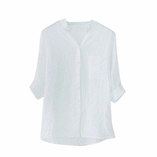 KUDICO Damen Tops Sale Clearance Stand Kragen Knopf Lange Ärmel Hemd lässige lockere Bluse T-Shirt Pullover, Angebote!(Weiß 3, M) (Kleid Sale Clearance)