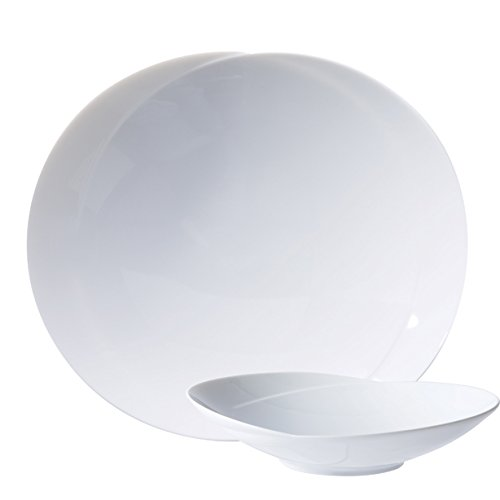 The Kitchenette - lot de 4 assiette creuse de 25cm en porcelaine blanche infinity