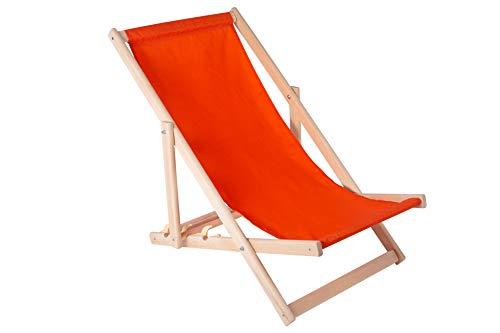 Amazinggirl Liegestuhl klappbar aus Holz Liege - Relaxliege für Garten Balkon Gartenliege Strandstuhl orange