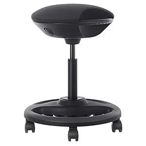 SONGMICS Bürohocker, ergonomischer Arbeitshocker, Rollhocker, Drehstuhl auf Rollen, extra großer Sitz, 10° Neigung, höhenverstellbar, Arbeitszimmer, Büro, Dickes Polster, schwarz OSC06BK