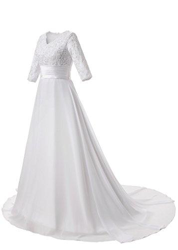 JAEDEN Damen 3/4-Arm Chiffon Hochzeitskleider Lang A Linie V-Ausschnitt Brautkleid Schleppe Weiß