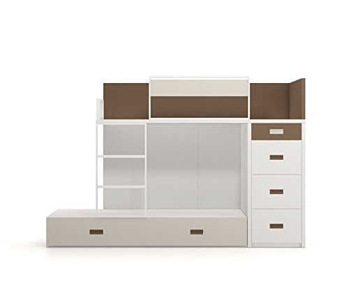 Meubles ROS Ros Lit House with Magnetic Boards Velleda Panels and Office Furniture-158,5x202x102cm, Beech/White Meubles ROS Sleeping Dimensions: 190x90 Mattress Made of Beechwood included. Structure in varnished natural beech wood. 2