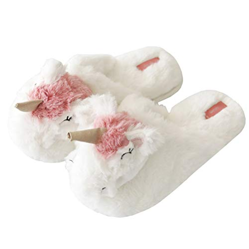 FUYAO Plush Unicorn Slippers for Women Young Girls, Winter Warm Slippers, Valentines Gift for Her