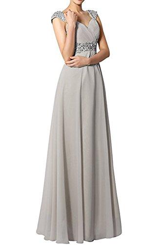 Promgirl House Damen Elegant Lang A-Linie V-Ausschnitt Chiffon Schnuerung Paillenten Cocktail Brautkleid Brautjungfernkleid Ballkleider Lang Silber