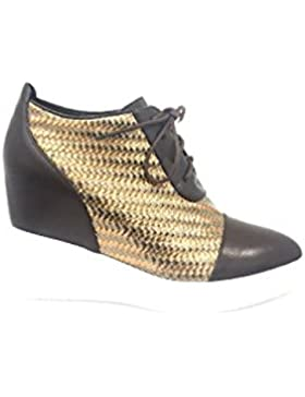 AwAy zeppa scarpa stringata allacciata INTRECCIATA marrone oro laced wedge shoes brown gold
