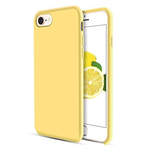 DUEDUE iPhone 8 Hülle, iPhone 7 Hülle Slim dünne Handyhülle iPhone 8 Slim case Liquid Silikon Gel Matte Hülle Kratzfest Silikon Case für iPhone 8 / iPhone 7 (4.7 Zoll) Zitrone Gelb
