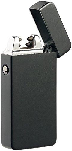 PEARL Plasma Feuerzeug: Elektronisches Feuerzeug mit doppeltem Lichtbogen, Akku, USB, schwarz (Feuerzeug elektrisch)