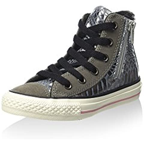 CONVERSE 746381C silver ct side zip scarpe bambina all star mid stampa