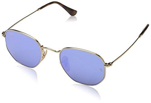 Ray Ban Unisex Sonnenbrille Hexagonal Gestell: Gold,Gläser: leichtes blau 001/9O), Small (Herstellergröße: 48)