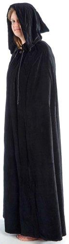 hang schwarz Samt mit Kapuze Mittelalterliche Kleidung ()