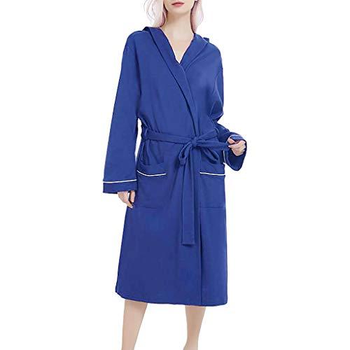 AIni Damen Schlafanzüge,Elegant Sommer Normallack Baumwoll Pyjama Nachthemd Wäsche Bademantel Gurt Morgenmäntel Nachthemden(L,Marine)