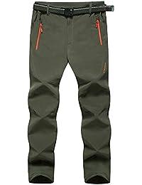 LaoZanA Hombres Pantalón De Montaña Pantalones De Softshell Trekking Escalada/Verde del ejército XL