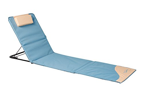 Meerweh Sonnenliege, Strandmatte XXL mit Lehne, blau, 200 x 60 cm, 74034