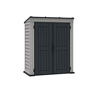 Duramax YardMate 5′ x 5′ PLUS Plastic Garden Shed with Plastic Floor – Anthracite & Adobe – 15 Years Warranty