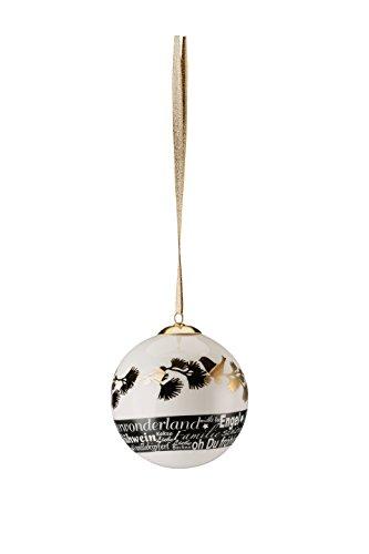 Hutschenreuther Merry Christmas Shiny Gold Grande Boule en Porcelaine Branche/Ø 8 cm, Porcelaine, 9 x 9 x 10 cm