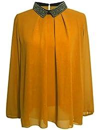 ec3de842157a Kris Tertio Top Hemd Perlenkragen Plissierte Und Kleine Öffnung Im Rücken -  Damen