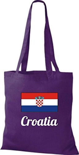 ShirtInStyle Stoffbeutel Baumwolltasche Länderjute Croatia Kroatien Farbe Pink lila