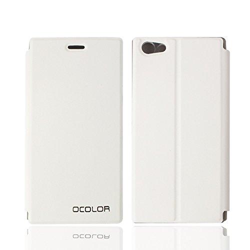Guran® PU Leder Tasche Etui für DOOGEE Y300 Smartphone Flip Cover Stand Hülle Case-weiß