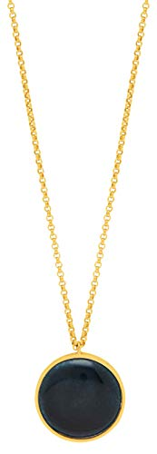 Louise Kragh Lange Damen Halskette Gold mit Rundem Anhänger Porzellan Halbkugel Grün der Serie Fall verstellbare Länge 80-90 cm 925 Silber Vergoldet - NFAL0101-071811