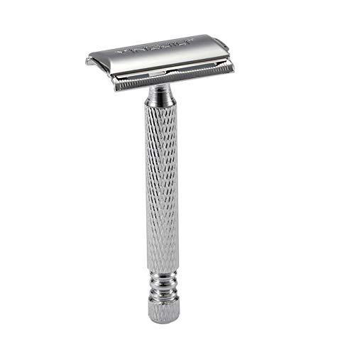 Allouli Men's Safety Razor Stainless Steel Classic Double Edge Blades Beard Shaver (Stainless Edge Double Steel Razor)