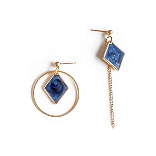 Lovinda Mädchen Silber Ohrringe Diamant Kreis Diamant Zirkon Ohrringe Frauen Kreative Ohrring Linie Mode Asymmetrische Ohrringe Stud Günstige Schmuck für Dame Geburtstagsgeschenk (blau)