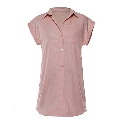 Kviklo Damen Hemd Tunika Kurzarm Solide Tasche Knöpfe Tops Bluse Minikleid(M(38),Rosa) -