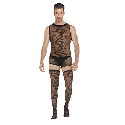 HIMEALAVO Männer sexy Body Strümpfe Erotische Unterwäsche Uniform Versuchung Onesies Schlafanzug (Größe: Statur (165-180cm),11)